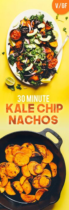 30-minute, 7-ingredient vegan nachos made with kale chips, sweet potato rounds, black beans, avocado and salsa! A filling, flavorful, healthy plant-based meal or snack.
