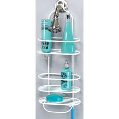 Grayline 41703, Designer Shower Caddy, White by Grayline. $16.60. PE coated steel for rust resistance. Allows bottles to be stored upside down. White color coordinates with a variety of bathroom fixtures. 2 shelves ideal for taller bottles as well as one shelf ideal for soap, razors, etc.. This shower caddy is ideal for storing taller bottles in the shower. With varying shelf sizes, it can accommodate anything from soap and toothpaste to much taller bottles wi...