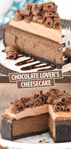 This Chocolate Lovers Cheesecake recipe is full of chocolate flavor for the ultimate chocolate lover! The thick and creamy chocolate cheesecake is topped with homemade chocolate ganache chocolate whipped cream and even more chocolate for decoration! Homemade Chocolate, Chocolate Flavors, Chocolate Desserts, Chocolate Ganache, Köstliche Desserts, Delicious Desserts, Dessert Recipes, Cheesecake Desserts, Food Cakes