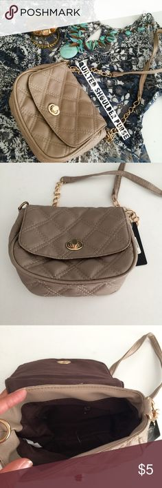 NWT Quilted Shoulder Bag New with tag, generic quilted cross body bag. Beige synthetic leather. Super cute to dress up any outfit. Necklace available in separate listing! mandee Bags Shoulder Bags