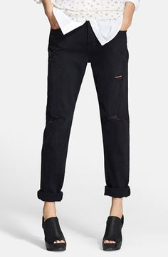 Current/Elliott 'The Traveler' Boyfriend Jeans (Black Destroy) | Nordstrom