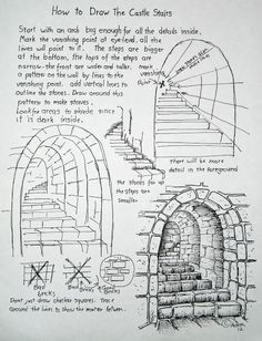 How to Draw Worksheets for The Young Artist: How To Draw Stone Stairs, drawing Lesson and Worksheet
