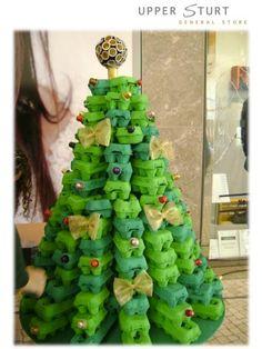 Recycled egg carton Christmas tree.