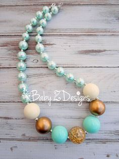 Mint, Gold, and Cream Chunky Necklace  - Fits Toddler, Girl, Tween, Teen, or Women by babyzdesigns on Etsy