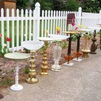Lamp Birdbath {trash to treasure} - these would also be cute as small pedestal tables or planter tables