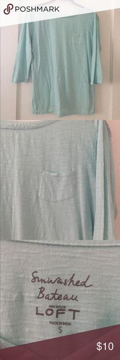 3/4 length LOFT top Like New, amazingly soft! Light blue/mint color LOFT Tops