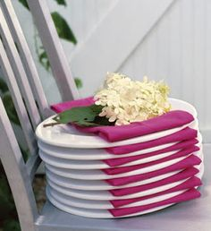 buffet, napkin and plate together adds beautiful touch.