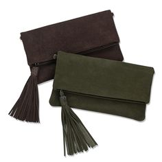 GiGi New York | Stella Fold-Over Clutch | Nubuck Suede