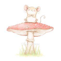 Ilustración ratón sentado en seta
