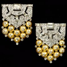 KTF Trifari 'Alfred Philippe' 1935 Pair of Pave Baguettes and Shoebutton Pearls Deco Chevron Dress Clips