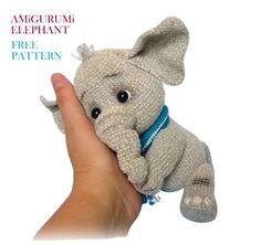 Cute Elephant, Crochet Animals, Free Crochet, Free Pattern, Dinosaur Stuffed Animal, Crochet Patterns, Teddy Bear, Dolls, Knitting