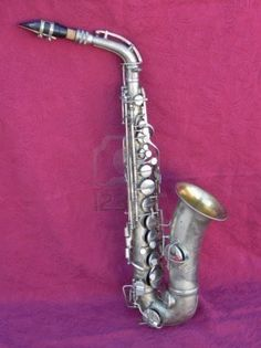 antique silver plated saxophone