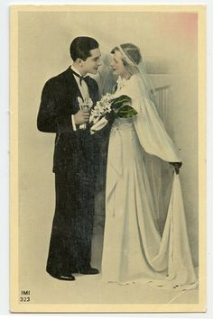 1930s Glamour Fashion WEDDING COUPLE Marriage Bride French photo postcard | eBay Photo Postcards, Vintage Photographs, Wedding Couples, 1930s, Wedding Styles, Marriage, 1920s Style, Glamour, Vintage Weddings