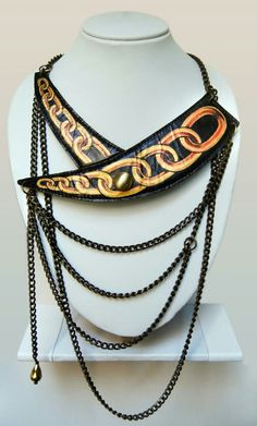 leather hand painted necklace...by flukedesigncompany  price 48$