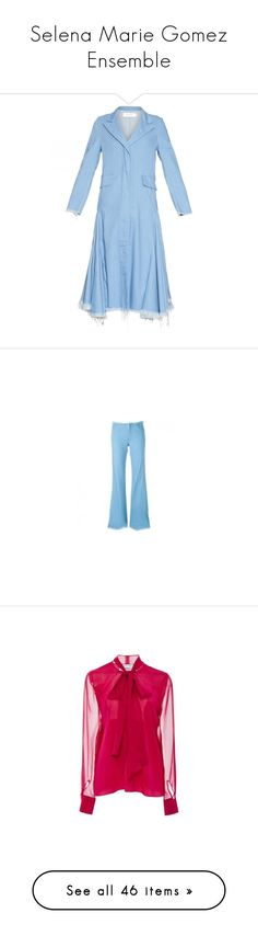 """""""Selena Marie Gomez Ensemble"""" by taught-to-fly19 on Polyvore featuring outerwear, coats, jeans, stretch jeans, stretchy high waisted jeans, light blue high waisted jeans, high rise jeans, stretchy jeans, tops e blouses"""