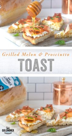 Grilled Melon Prosciutto Toast: Fire up the grill and satisfy your sweet and salty cravings with this simple and savory snack. Top our Non-GMO Project Verified California Goldminer Original Square with ricotta, prosciutto, grilled cantaloupe and basil garnish. #ricotta #cantaloupe #prosciutto #snack #toast #summertoast #summersnack #grilling