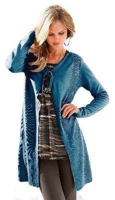 Damen Strickmantel Strickjacke blau Neu Gr.S