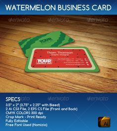 "Watermelon Business Card #GraphicRiver SPECS : • 3.5"" x 2"" (3.75"" x 2.25"" with Bleed) • 2 Ai CS3 File, 2 EPS CS File (Front and Back) • CMYK COLORS 300 dpi • Crop Mark – Print Ready • Fully Editable • Free Font Used (Homizio) LINK : .dafont /homizio.font Please help me with rate my item Created: 12 December 13 Graphics Files Included: Vector EPS #AI Illustrator Layered: Yes Minimum Adobe CS Version: CS3 Print Dimensions: 3.5x2 Tags business #card #corporate #creative #cute #fruit #green…"