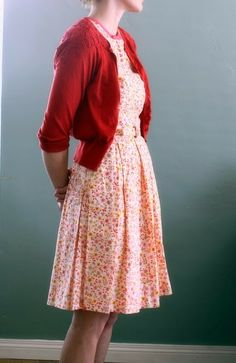 Printed Mini Frock With Red Embroidered Cardigan