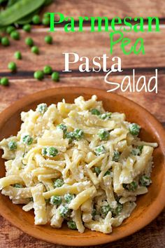 Parmesan Pea Pasta Salad is probably the easiest pasta salad recipe in the world. Takes just 15 minutes to make and contains only 4 ingredients!