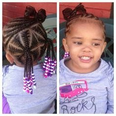 Just adorable! Little girls cornrow ponytails with beads.