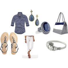 blue and white summer outfit beachy, created by lesahow on Polyvore