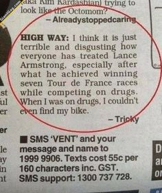How People Treated Lance Armstrong | Click the link to view full image and description : )