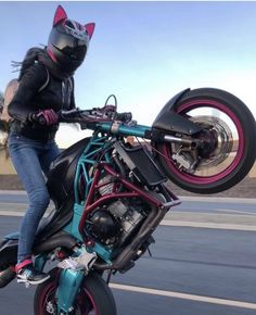 Stunt Girl with a Helmet with Car Ears Upgrades Motorcycle Design, Motorcycle Style, Motorcycle Gear, Biker Chick, Biker Girl, Raleigh Bicycle, Bicycle Quotes, Motorcross Bike, Kawasaki Bikes