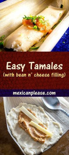 an easy tamales recipe to keep in mind for weeknight dinners. Using leftovers for the tamale filling really simplifies the process -- we're using leftover bean dip in this batch! Authentic Mexican Recipes, Mexican Food Recipes, Vegetarian Recipes, Cooking Recipes, Mexican Desserts, Freezer Recipes, Freezer Cooking, Drink Recipes, Vegetarian Tamales