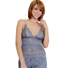Charcoal Gray Lace Top Hip Length Kaleidoscope Adjustable Straps - This 3 row lace Camisole Chemise is made to match the lace boxers but can be worn alone. The adjustable straps are made from the same fabric as the waistbands. SEXY! Ultra soft lace. This top runs true to size and the cup increases with each size. A large can fit up to 34-36 C-E.