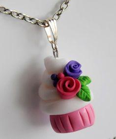 Vanilla Strawberry Cupcake Pendant