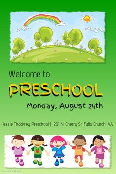 Preschool flyer Advertising Flyers, Advertising Ideas, Refugee Quotes, Welcome To Preschool, Indoor Play Areas, School Admissions, Falls Church, Used Tools, Kids Cards