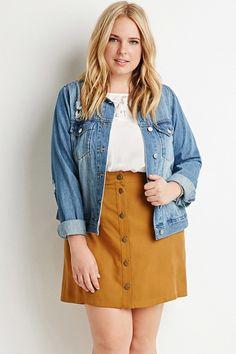 Plus Size Button. Apr Plus Size Button-Front Textured Skirt Curvy Fashion, Trendy Fashion, Fashion Outfits, Fashion Spring, Womens Fashion, Fashion Ideas, Brown Fashion, Skirt Fashion, Fashion Trends