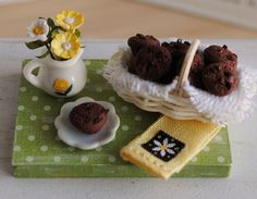 Miniature Basket Of Yummy Chocolate Chocolate Chip Muffins 1/12 Scale by Anna Kerley