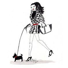 #houndstooth #scottiedog #fashion #fashionillustrator #fashionillustration #falltrends #michaelkors #hauties #hautecouture #haute #couture #watercolor #watercolorfashion #instafashion