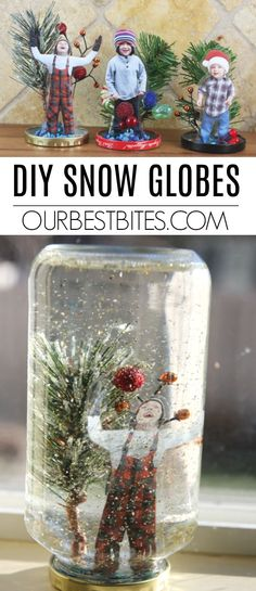 DIY Snow Globe: This fun & easy project can be done with supplies you probably already have! Create a winter wonderland, & even place a photo inside these DIY Snow Globes! From OurBestBites.com