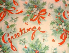 Vintage 1940's Christmas Wrapping Paper, Holly, Mistletoe and Greetings | eBay