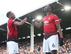 Paul Pogba of Manchester United celebrates scoring their first goal during the Premier League match between Fulham FC and Manchester United at Craven Cottage on February 2019 in London, United. Get premium, high resolution news photos at Getty Images Paul Pogba Manchester United, Fulham Fc, Premier League Matches, Scores, Polo Ralph Lauren, The Unit, Goals, Celebrities, Celebs
