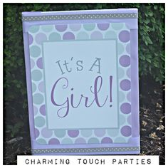 It's A Girl 11x17 sign by Charming Touch Parties.  Baby Shower poster, professionally printed.  Color customization available. by CharmingTouchParties on Etsy