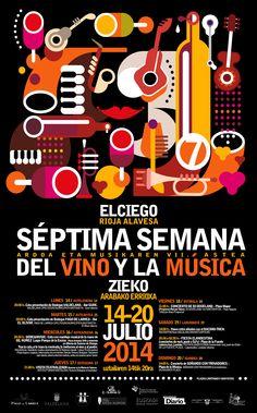 Os dejamos otro cartel diseñado para La Semana del Vino y Música de Elciego.