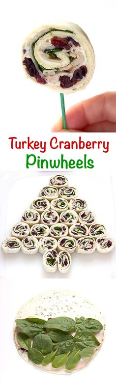 Turkey Cranberry Pinwheels - Seasoned cream cheese, dried cranberries, turkey, and spinach rolled up into pinwheels. Perfect They can even be arranged into the shape of a Christmas tree. christmas food and drink Party Snacks, Appetizers For Party, Appetizer Recipes, Party Desserts, Snacks Kids, Camping Snacks, Food Kids, Party Recipes, Pinwheel Appetizers