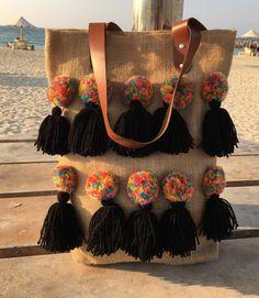Boho Tote bags ,Colorful Totes burlap bags, jute bags, pom-pom bags, college…