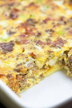 Low Carb Breakfast Casserole - Keto Breakfast - Ideas of Keto Breakfast - Low Carb Breakfast Casserole With Sausage Bacon Eggs Milk Grated Cheddar Sweet Onion Bell Pepper Frank's Red Hot Salt Pepper Breakfast Low Carb, Healthy Breakfast Bowl, Keto Breakfast Muffins, Low Carb Breakfast Casserole, Keto Breakfast Smoothie, Breakfast And Brunch, Breakfast On The Go, Breakfast Bake, Sausage Breakfast