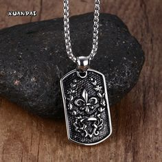 Stunning Men's Necklace Stainless Steel Fleur De Lis Lris Flower Dog Tag Pendant Choker for Men Vintage Gothic Bike Jewelry  24