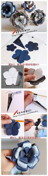 Beautiful Five Petals Paper Flower DIY Projects / UsefulDIY.com (flower,diy projects,handmade)