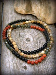 Mens Beaded Bracelet Mens Jewelry Stretch by StoneWearDesigns #jewelryformen