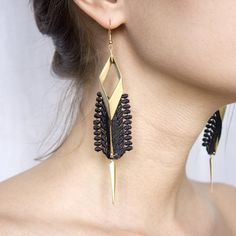 Lace earrings - Rays - Black or white lace, with brass by thisilk on Etsy https://www.etsy.com/listing/153300855/lace-earrings-rays-black-or-white-lace