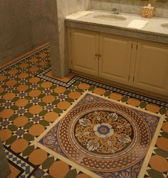 #Victorian effect #porcelain #geometric #tiledfloor