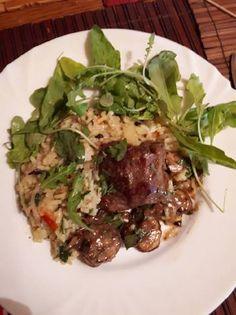 Gombás szűzpecsenye Portobello, Wok, Beef, Meat, Steak