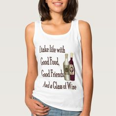 Funny I Take Life With A Glass Of Wine Basic Tank Top Tank Tops